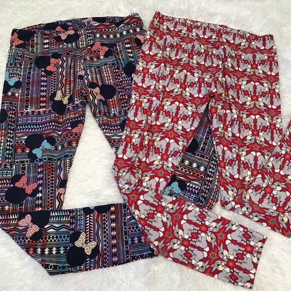 Disney LuLaRoe TC Leggings 2 pairs Minnie Thumper